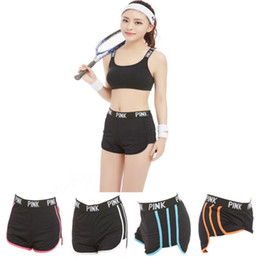 Wholesale Wholesale Women Shorts Pants - Pink Sports Shorts Sporting Running Yoga VS Trunks Short Shorts Running Pants Fitness Gym Hot Pants 5 Colors OOA1640