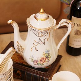 Wholesale Bone China Teapots - Porcelain teapot bone china flowers design embossed handpainted outline in gold coffee pot a pot for tea or coffee