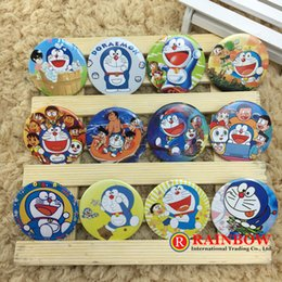 Wholesale Cute Birthday Doraemon - 45mm Cute Doraemon Cartoon badge saftety pin happy birthday party supply favor gift for boy and girl free shipping