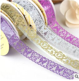 Wholesale Transparent Cute Tape - Wholesale- 2016 Cute little fresh transparent Sparkling powder lace decorative DIY tape masking tape small roll 1m lace tape Adhesive Stic