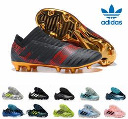 Wholesale Slip Spiked Shoes Men - Adidas Nemeziz Messi 17+ 360 Agility FG Soccer Cleats Triple Black Magnetic Pyro Storm Mens Turf Soccer Training Cleats Boots Football Shoes