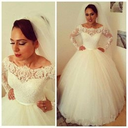 Wholesale Ivory Wedding Dresses Designer Plus - African Lace Ball Gown Wedding Dresses Designer 2017 Plus Size Long Sleeves Sheer Tulle Custom Made Bridal Gowns Free Shipping