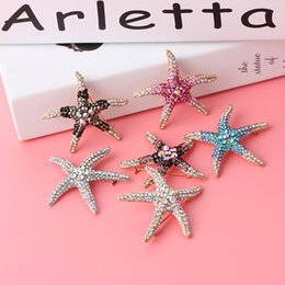 Wholesale Wholesale Starfish Brooch Pin - Wholesale- Optional Adorable Blue Crystal Rhinestone Starfish Brooches for women wedding Brooch Pins Fashion Accessories