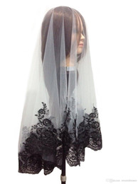 Wholesale Cheap Black Tulle - Beautiful Tulle One-Layer Wedding Bridal Veils With Black Lace Edge Veil Wedding Accessory Cheap Free Shipping In Stock White Short