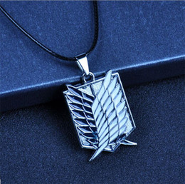 Wholesale Attack Giants - Hot Sale !5pcs Anime Attack On Titan Silver Drip Necklace Giant Legion Flag Cosplay Jewelry Statement Necklaces For Men Anime Fans
