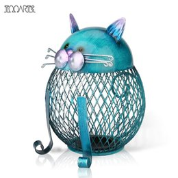 Wholesale Arts Bank - Tooarts Cat Coin Box Piggy bank Animal ornament Creative ornament Iron art ornament Handcrafts Interior Art Home decoration