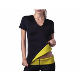 Wholesale Plus Weight - Plus Size Women Neoprene T-shirt Hot Body Shapers Sweating Tops Super Stretch Slimming Vest Shirt Weight Loss Sauna Suit