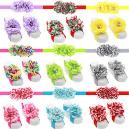 Wholesale Wholesale Baby Barefoot Headband Sets - Fashion Baby Accessories Infant Kids Headbands and Foot Flower Matching Set Baby Girls Sandals Barefoot Sandals Baby Shoes Toddler Shoes
