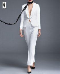 Wholesale Women Straight Elegant Black Pants - UR 59 Custom White Hot Work Bussiness Formal Elegant Women Suit Set Blazers Pants Office Suits Ladies Pants Suits Trouser Suits Handmade
