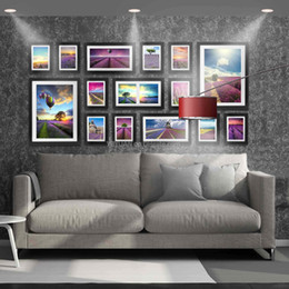 Wholesale Modern Picture Frame Set - Modern Style Photo Wall Wooden Frames Combination 7 12 16 Inch Decorative Picture Frame 15PCS Set Gallery Home Wall Indoor Decoration