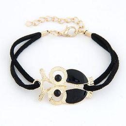 Wholesale Enamel Bangle Alloy - Brand New Fashion Leather bracelets bangles Enamel Gold Plated Night Owl Charm Bracelet pulseiras for Women Men jewelry Bijoux