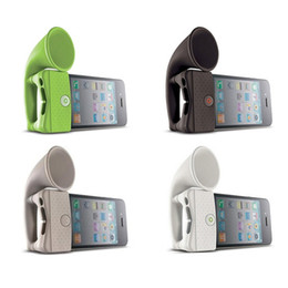 Wholesale Mobile Phone Horn - Cute Silicone Horn Stand Portable Mini Wireless Speaker Loudspeaker Amplifier for iPhone 4 Smart Phone random color for Apple 4