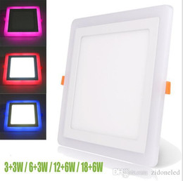 Discount led square panels rgb - Ultra Slim Embeded Square Dual Color LED Panel Light 6W 9W 18W 24W Red Blue Pink RGB And Cool White Ceiling Recessed Light