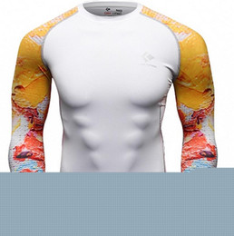 Wholesale Double Layer Shirts - Wholesale- Muscle Men Compression Tight T-shirt Long Sleeves Double Sides Prints MMA Rashguard Fitness Base Layer Weight Lifting Wear