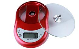 Красный цифровой электронные кухонные весы 5 кг / 1g 5000g Весы с функцией обратного отсчета времени будильник Бесплатная доставка от