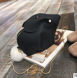 Wholesale Kids White Purse - Children cartoon rabbit bag baby girls cute bunny modelling purse phone package kids white pompon zipper one shoulder bag R0899