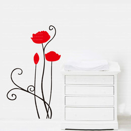 Wholesale Red Flower Vinyl Wall - 9254 New Removable Red Rose Life Is The Flower Quote Wall Sticker Mural Decal Home Room Art Decor DIY Romantic Delightful