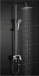 Wholesale 10 quot stainless Steel Square rainfall shower LED Intelligent Digital display temperature with rotatable lifting rod