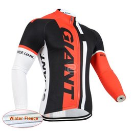 Wholesale Thermal Fashion Shirt - 2017 Giant Cycling Thermal Fleece jersey Long Sleeves Mountain Bike Shirts High Quality Fast Color Fashion Cycling Jerseys D1131