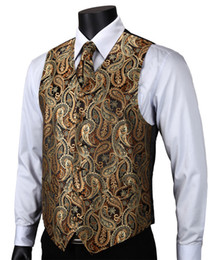 Wholesale Tuxedo Designs For Wedding - Wholesale- VE14 Gold Brown Paisley Top Design Wedding Men 100%Silk Waistcoat Vest Pocket Square Cufflinks Cravat Set for Suit Tuxedo