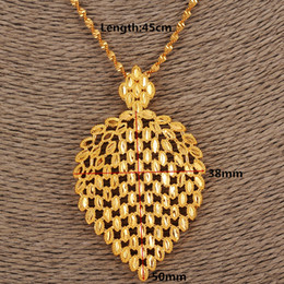 Wholesale Singapore Fines - Dubai Necklace Women Ethiopian Plume Pendant Necklace 14k Yellow Solid Fine Gold GF Jewelry Africa Arab Flower Gifts