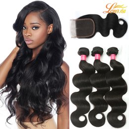 Wholesale High Quality Hair Products - Body Wave Brazilian Human Hair Products 3Bundles Body Wave With 1Lace Closure Unprocessed Cheap But High Quality Brazilian Human Hair