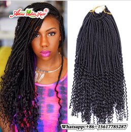 Wholesale Braiding Strands - 22inch Faux Locs Curly Crochet Hair Extensions Crochet Goddess Locs Synthetic Braiding Hair 24 strands pack