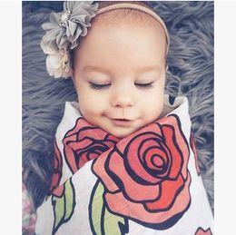 Wholesale Baby Blankets Muslin - INS Infant kids blanket babies rose flowers printed sleep sack+swaddle hair bands 2pcs sets Newborn cotton muslin blanket T0492