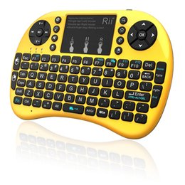 Wholesale Keyboard Hebrew - Rii mini i8+ 2.4G Wireless gaming keyboard backlit English Hebrew Russian With TouchPad Mouse for Tablet Mini PC