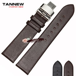 Wholesale Thin Watch Cm - Wholesale- Strap 18mm 20mm 22mm ultra-thin leather strap watch bracelet butterfly clasp