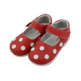 Wholesale Mary Jane Shoes For Girls - girls shoes genuine leather red white spring autumn mary jane with white polka dots for kids retail