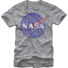 Wholesale Distressed T Shirts - Wholesale- Design Men T shirt NASA Logo Distressed Men's Heather T-Shirt Short sleeved 100% Cotton Casual Family tshirt Plus Size Tees
