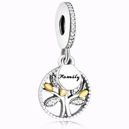 Wholesale Making Family - New Fashion 925 sterling silver family tree silver dangle with and clear cubic zirconia charm bracelet jewelry Making