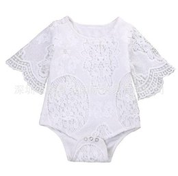 Wholesale Clothe Flowers - Baby INS flower lace Rompers Girl Cotton Solid color Bat sleeve lace romper 2018 New baby clothes 0-2years