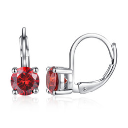 Wholesale wonderful earrings - 18K White Gold Plated Red Pink White AAA CZ Crystal Lovely Sweet Earrings Hoops for Kids Girls Women for Party Wonderful Birthday Gift
