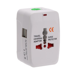 Wholesale 5v 6a - (White)Universal Travel Conversion Plug Power Adapter with 4 Change-Over Plugs(US EU UK AU) and Dual USB Ports(5V 1A Per Port),100-240V 6A