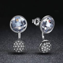 Wholesale Clear Crystal Droplets - 3pcs Genuine 925 Sterling Silver Dazzling Droplets Stud Earrings With Clear CZ Crystals For Woman Fashion Jewelry Christmas Gift E490