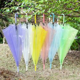 Wholesale Transparent Clear Umbrella Wholesale - Children Transparent Umbrella Clear PVC Raining Umbrellas Sunshade Long handle Kids Outdoor Wedding Beach Colorful Umbrella Free DHL 66