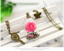 Wholesale Beauty Rose Glass - Beauty and the Beast necklace with 9 colors rose flowers glass bottle pendant for film gifts party travel