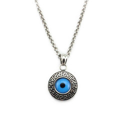 Wholesale turkish evil eye necklaces - Turkish Evil Eye Amulet 316L Stainless Steel Necklace Greek Key Pendant Charm Nazar Boncuk For Men Women