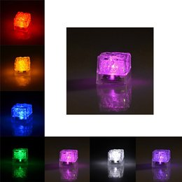 Wholesale Light Up Led Ice Cube - 7 color changing Light up LED Ice Cubes Glow Ice Cubes for wedding decoration novelty party