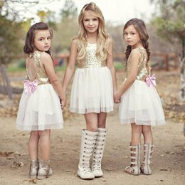 Wholesale Bridesmaid Clothes - Girls Wedding Dresses Ball Gown Bridesmaid Tull Sequined Bowknot Birthday Party Sleeveless Baby Girl Dress Kids Clothing