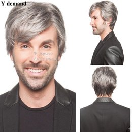 Wholesale Men Synthetic Hair - Mens' Short Layers Kanekalon Wigs Cool Straight Men Wigs Natural Hair Synthetic Male Hair Wigs Y demand