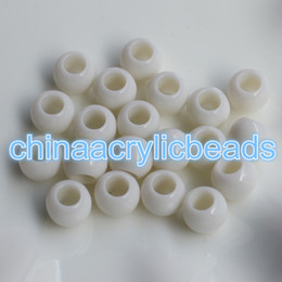 Wholesale Large Chunky Acrylic Beads - 500Pcs Set Wholesale 10*11.5MM Acrylic Round Chunky Beads 5MM Large Hole Spacer Beads Plastic Opaque Round Beads For Jewelry Making Findings