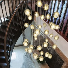 Wholesale Clear Glass Modern Lighting - VALLKIN® Dimmable LED Crystal Glass Pendant Lights Lamp Chandeliers Lighting Fixtures For Villa Duplex Ceiling Light Clear Bubble Ball