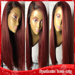 Wholesale Ombre Lace Wigs - Sexy Soft Ombre Burgundy Lace Front Wigs Synthetic Silky Straight Hair Heat Resistant Fiber Wigs Side Parting Wig