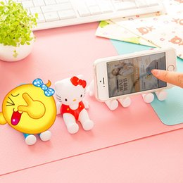 Wholesale Mobile Phone Animations - Wholesale-2016 Fashion Plastic Crafts Cute 3D Animation Model Shelf Desktop Cartoon Mobile Phone Holder Cell Phone Holder Stands