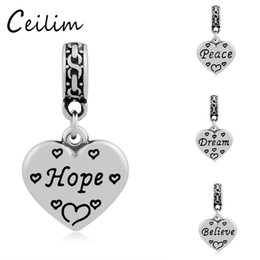 Wholesale Peace Rings - Heart-Shape Charms Stainless Steel Metal Engraving Hope & Peace & Believe Charm Pendant For Necklaces Jewelry Making Supplies With Link Ring