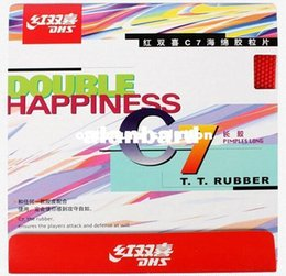 Wholesale Dhs Sponge - finely processed DHS table tennis ball C7 Long Pips-Out Rubber Double happiness LONG PIMPLES pingpong rubber with sponge