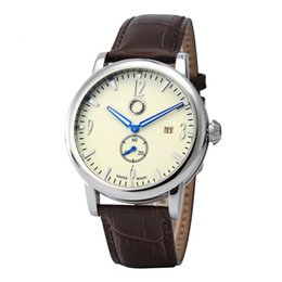 Wholesale Small Round Glasses - Good quality Popular Car Ben Logo men's boy 2 dials leather strap quartz waterproof Date Calendar watch small dial can work With logo 606